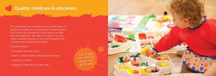 Brochure design for Each Peach Childcare Brighton