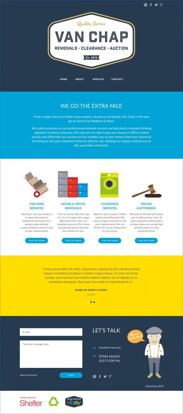 Van Chap website design home page