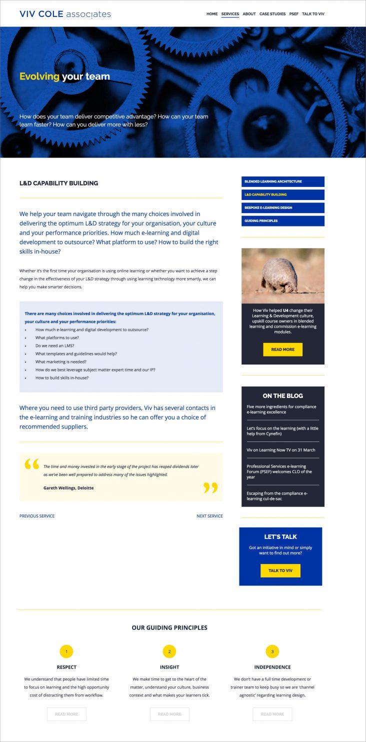 Website design for Viv Cole