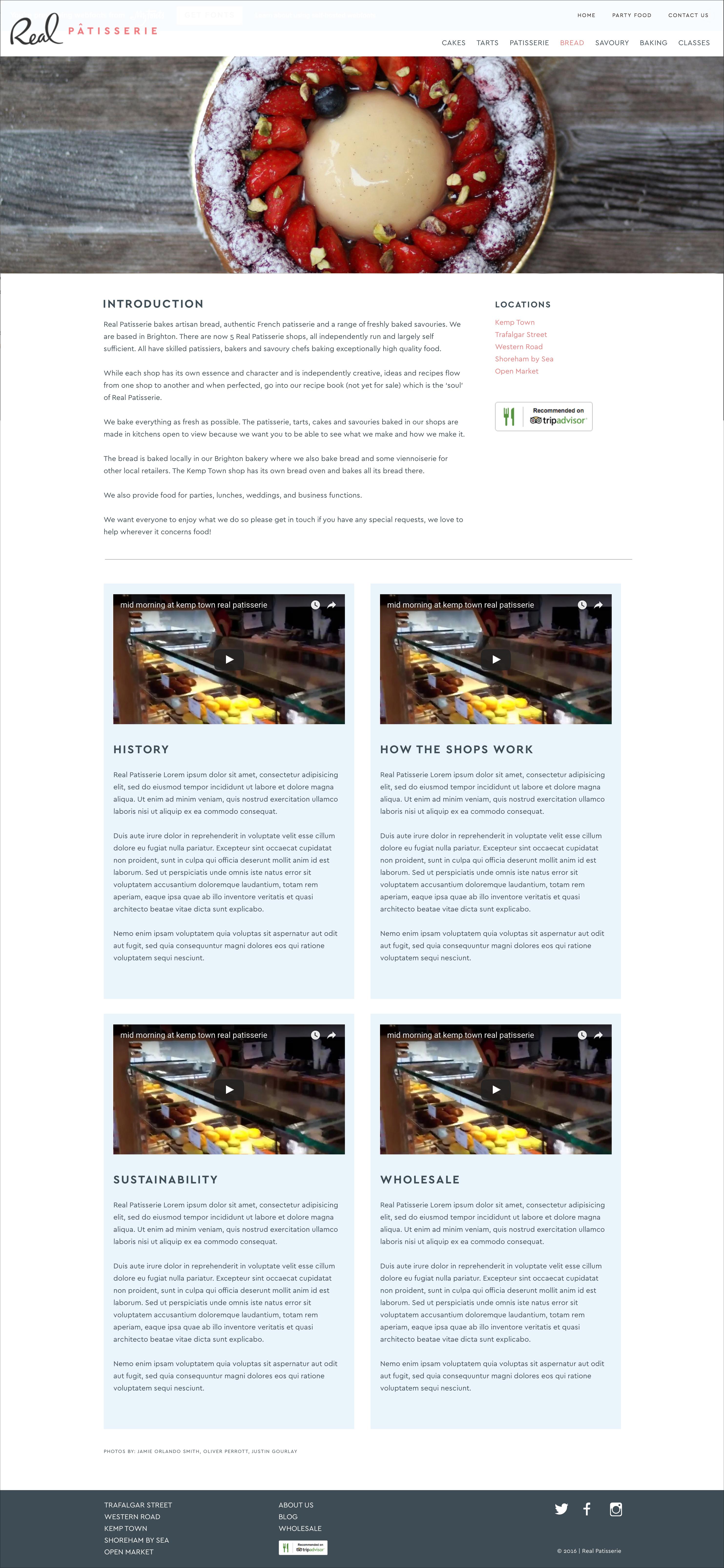 Website design for Real Patisserie