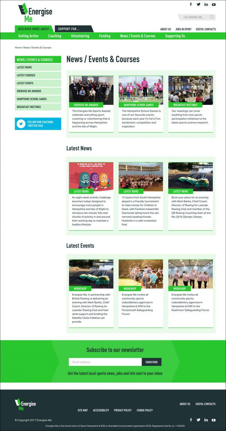 website design for Energise Me